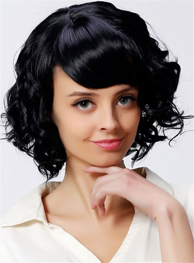 Cheap Short Curly Black Wig For Women Heat Resistant Synthetic Hair Capless 12 Inches