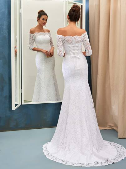 Off the Shoulder Mermaid Lace Wedding Dress with Sleeves Off the Shoulder Mermaid Lace Wedding Dress with Sleeves