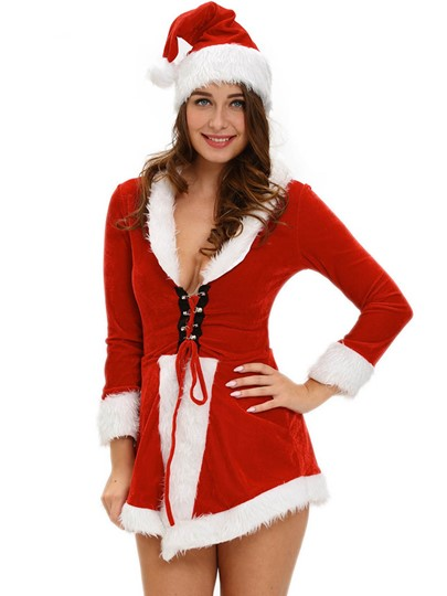 Deep V-Neck Asymmetric Lace-Up Christmas Costume
