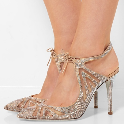 Bout pointu lacets strass sandales