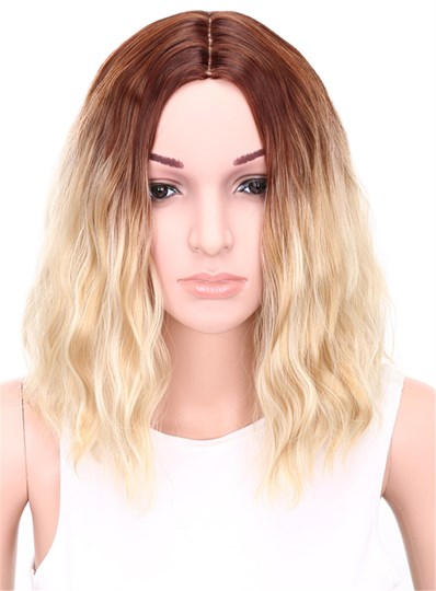 Medium Wavy Bob Hairstyle Capless Blonde 12 Inches Synthetic Hair Wig