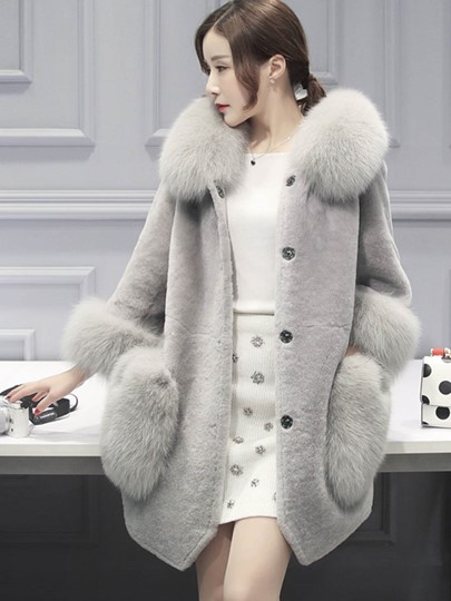Faux Fur Collar Hooded Patchwork Winter Women's Thick Overcoat