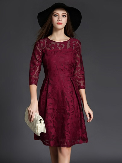 Date Red Half Sleeve Women's Lace Dress