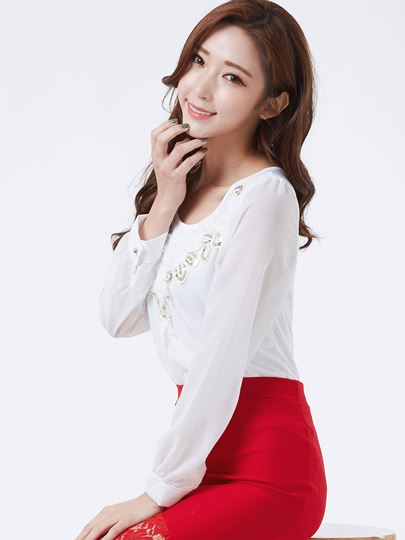Fashion Solid Color Chiffon Women's Blouse