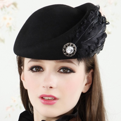 Feather Decorated Charming Wool Beret Hat