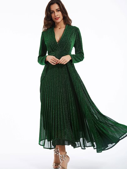 Plain V-Neck Expansion Women's Maxi Dress