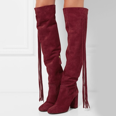 Over-the-Knee Chunky Heel Tassel Women's Boots