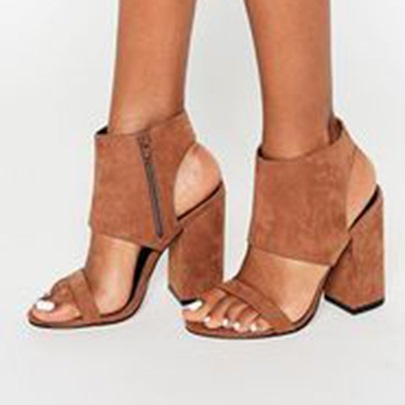 Brown Side Zipper Block Heel Sandals