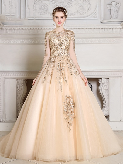 Jewel Pearls Ball Gown Appliques Beading Quinceanera Dress