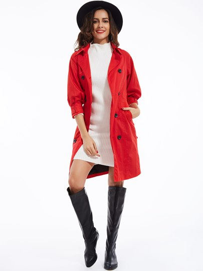 Plain Lapel Double-Breasted Women's Trench Coat