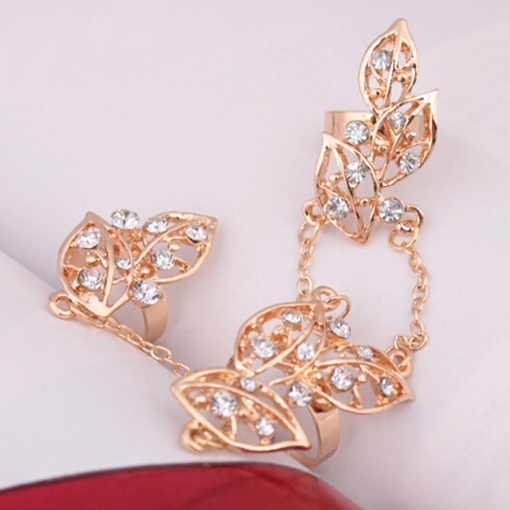 Hollow-Out Leaves Three Pieces Alloy Ring