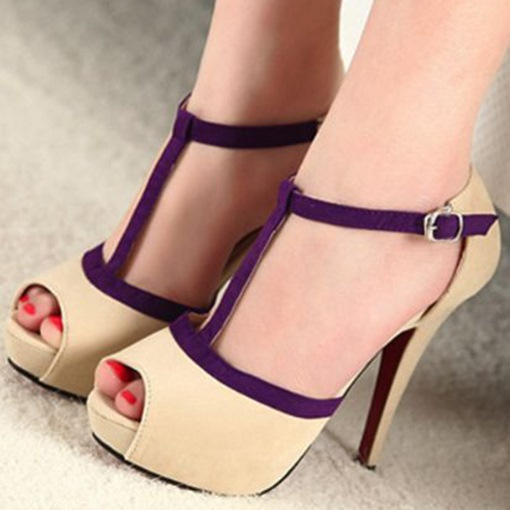 Beige Purple Strappy Peep Toe Platform Women's Sandals