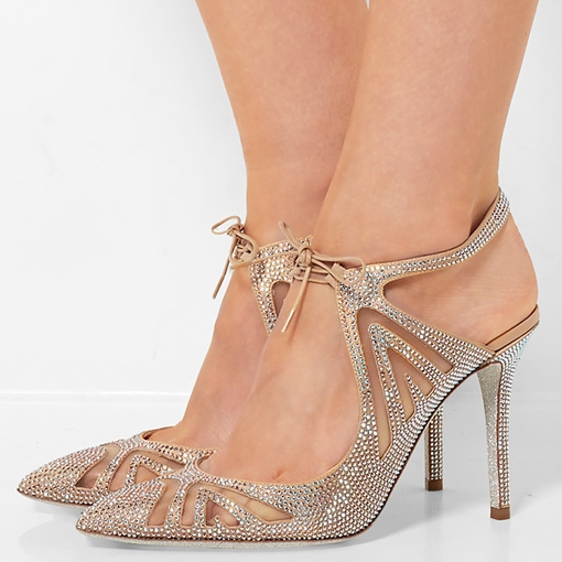 Pointed Toe Lace-Up Rhinestone Sandals