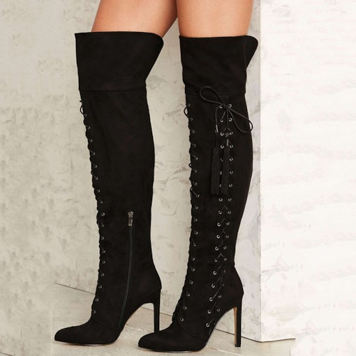 Awesome Black Lace Up Knee High Stiletto Women's Boots