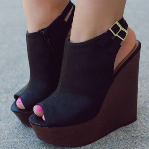 Black Slingbacks Wedge Sandals