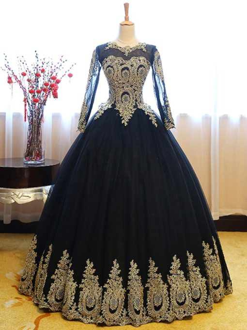 Appliques Scoop Ball Gown Quinceanera Dress