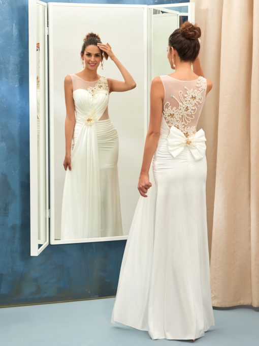 Jewel Neck Beading Pearls Back Sheath Wedding Dress