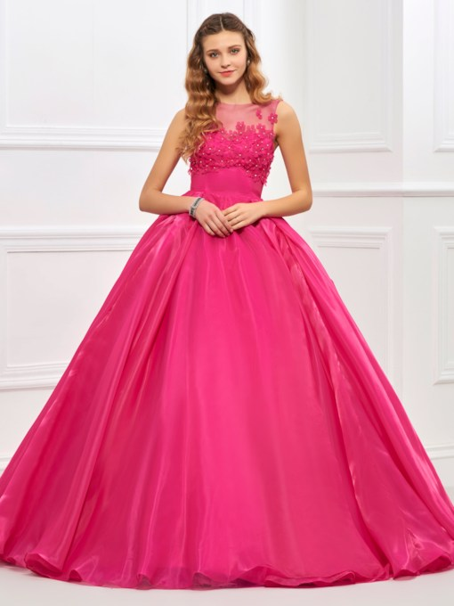 Flowers Beaded Ball Gown Quinceanera Dress