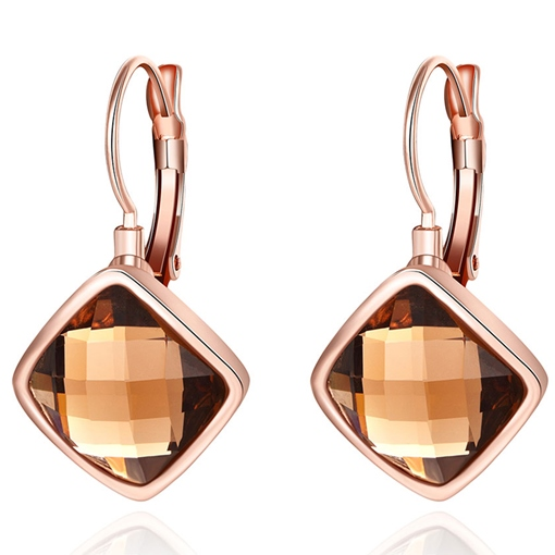 Rose Gold Plated Rhombus Pendant Earrings