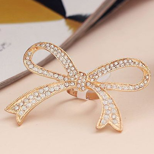 Shining Big Bowknot Design Alloy Ring