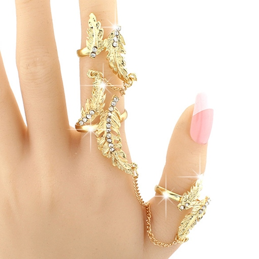 Exaggerated Golden Leaves Diamante Ring