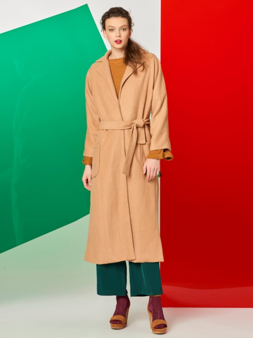 Solid Color Suit Collar Lacing Camel Coat Women's Overcoat