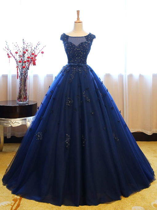 581d828653d Bateau Ball Gown Cap Sleeves Appliques Beaded Lace Sequins Quinceanera Dress