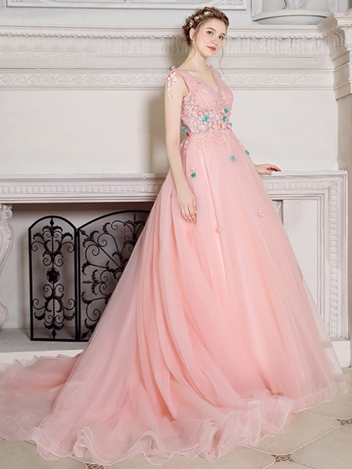 Ball Gown V-Neck Lace Pearls Court Train Quinceanera Dress