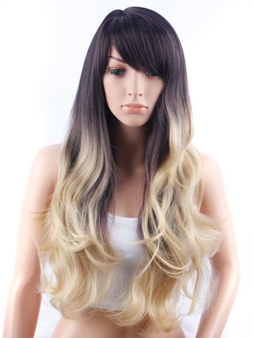 Long Loose Wavy Side Swept Fringes Hairstyle Synthetic Capless Wig 30 Inches