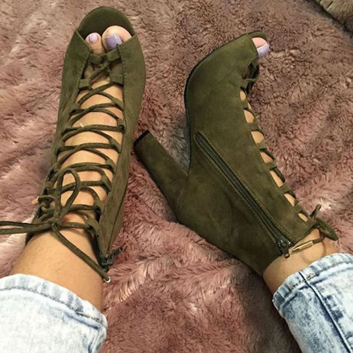 Army Green Lace Up Sandals
