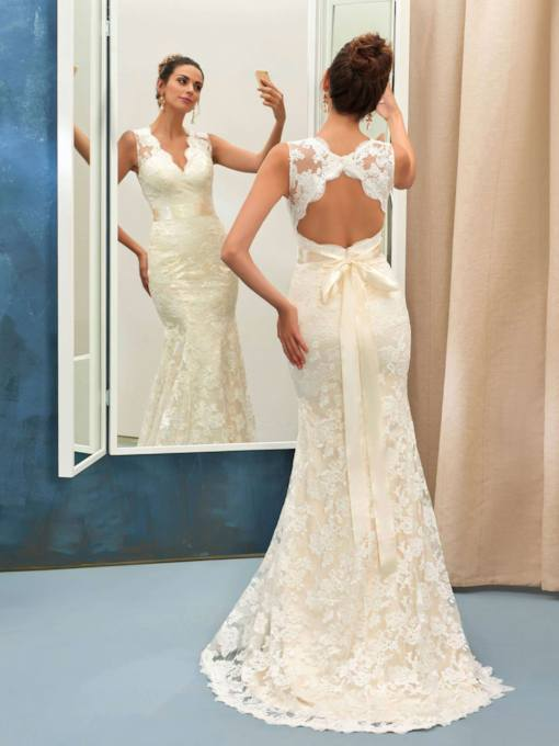 Cap Sleeve Sashes Backless Lace Wedding Dress