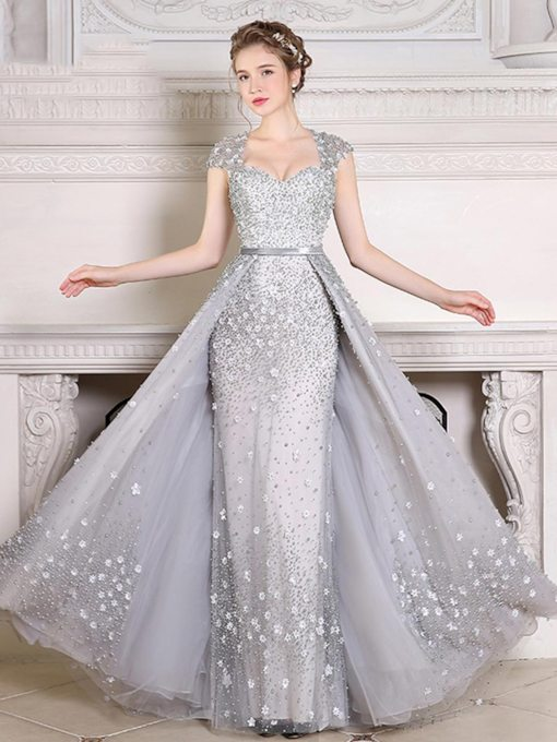 Cap Sleeves Pearls Appliques Evening Dress with Train