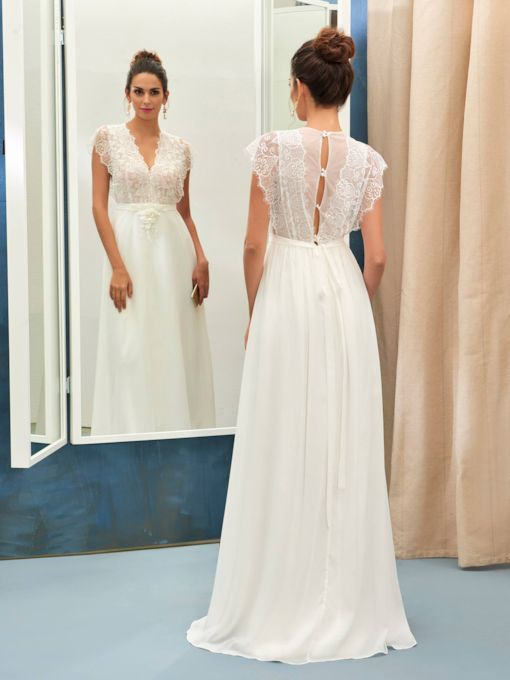 V-Neck Cap Sleeve A-Line Lace Wedding Dress