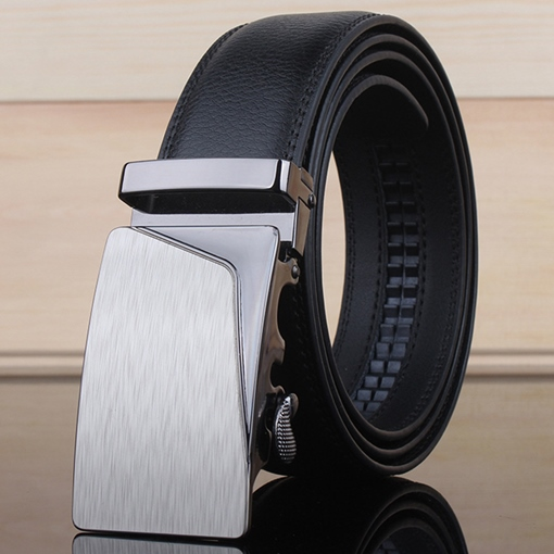 Rectangle Buckle Ratchet Slide Holeless Men's Belt