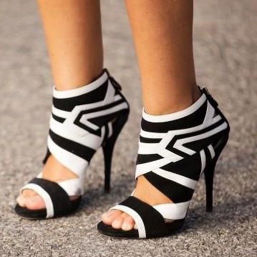 Black and White Geometric Patterns Sandals