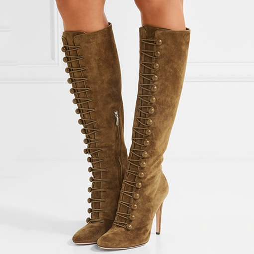 Knee-High Ultra-High Heel Cross Strap Women's Boots