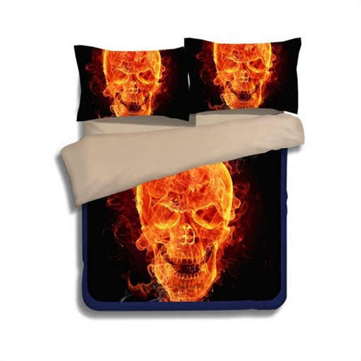 Fiery Flaming Skull Printed Polyester 4-Piece 3D Halloween Bedding Sets/Duvet Covers