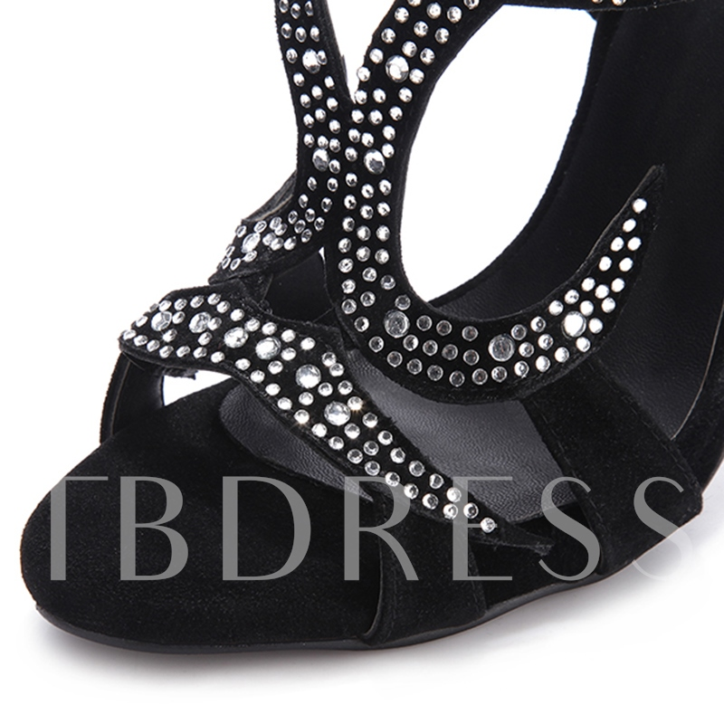 Rhinestone Open Toe Stiletto Heel Hollow Women's Sandals