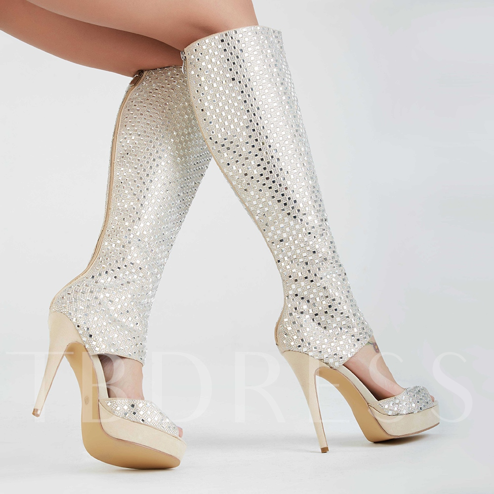 Open Toe Zipper Rhinestone Stiletto Heel Women's Sandals