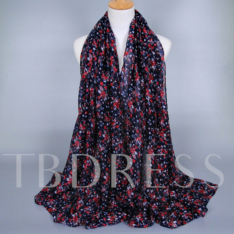 Chinese Style Floral Design Voile Scarf