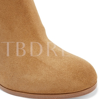 Round Toe Chunky Heel Rivets Women's Boots