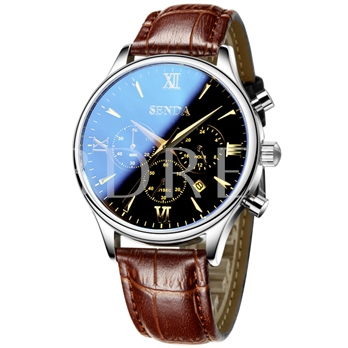 Ultra Thin Artificial Leather Strip Design Men's Alloy Watch