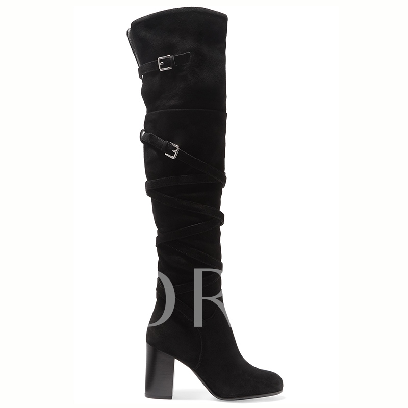 Over-the-Knee Chunky Heel Strap Women's Boots