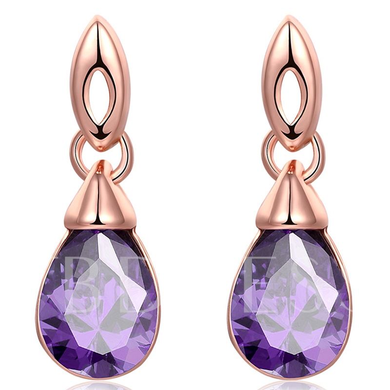 Ultra Violet Gem Inlaid Water Drop Earrings