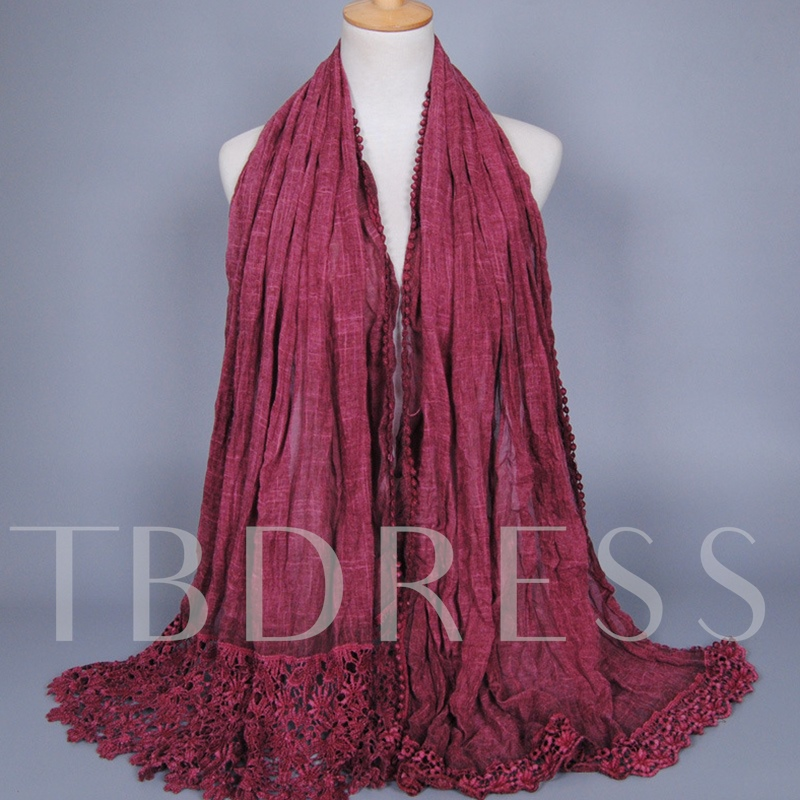 Lace Patchwork Tie-Dye Cotton Scarf for Women