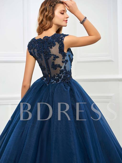 Jewel Ball Gown Appliques Beaded Floor-Length Quinceanera Dress