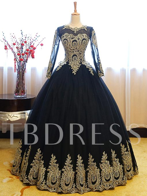 Scoop Ball Gown Appliques Floor-Length Quinceanera Dress