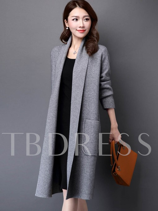Lapel Long Loose Sweater Women's Cardigan