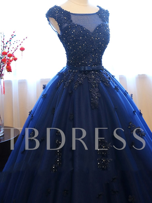 Bateau Ball Gown Cap Sleeves Appliques Beaded Lace Sequins Quinceanera Dress