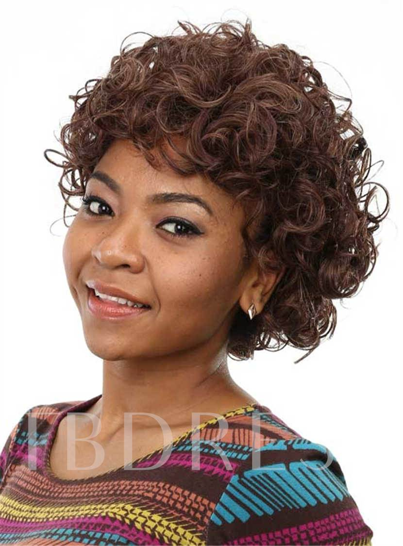 Short Curly Capless African American Women Synthetic Hair Wig 10 Inches